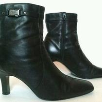 Bandolino Black Leather Ankle Boots High Heels 9 M Booties Women's Shoes Classic Photo