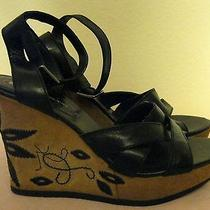 Bandolino Black Leather Wedges Size 6 M Embroidered Floral Suede Heel Sandals  Photo