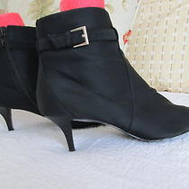 Bandolino Black Microfiber Zip Ankle Boots  With Buckle - Size 8.5m - Beautiful Photo