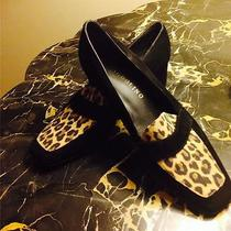 Bandolino Black Suede Leopard Animal Print Loafer Flats Shoes - Size 6.5 M Photo