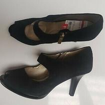 Bandolino Black Suede Peep Toe Ankle Bootie Pump Size 8.5 Photo