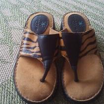 Bandolino Blu Tiger Stripe Hair-on Wedge Sandal Thong Sz 7 M Nwob Photo
