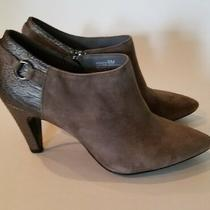 Bandolino Bootie Ankle Boot Suede Gray Womens Kaeto Pointed Toe Heel 6m Photo