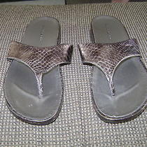 Bandolino Bronze Snakeskin Print Piano Thong Sandals...size 7 1/2m...euc Photo