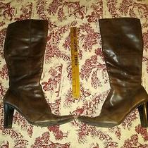 Bandolino Brown Leather Boots for Women Knee High With Zipper Size 8 M  Wedding Photo