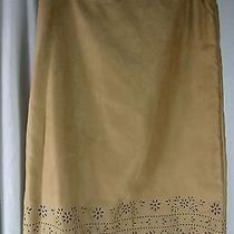Bandolino Brown Micro Suede Floral Cut Out Scallop Hem Back Zip Skirt 8 Photo
