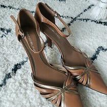 Bandolino Brown Strappy Ankle Strap Low Kitten Heels Women's Size 6.5 Photo