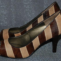 Bandolino Brown Tan Striped Cowhide Peep Toe Shoes Heels Real Fur 6.5 Trendy Photo