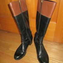 Bandolino Carlotta Two Toned Brown and Black Leather Long Boots Size 10.5m Photo