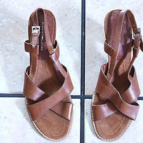 Bandolino Dark Brown Distressed Leather Strappy Wood Heel Sandals Shoes Photo