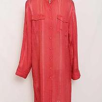 Bandolino Dark Coral Sheer Button Front Shirt Dress Nwt Size 12 1673 L1015 Photo