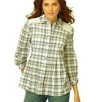 Bandolino Denim Green Plaid Pintuck Long Sleeve Blouse Shirt Top Womens M Nwt Photo