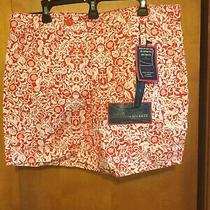 Bandolino Denim Women's Bermuda Shorts Red &white Floral Design Size 16 A84 Photo