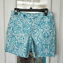 Bandolino Denim Women's Bermuda Shorts Turquoise & White Floral Design Size 6 Photo