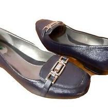 Bandolino Dress Shoes 7.5 M Navy Blue Textured Patent Look Low Heel Comfort Shoe Photo