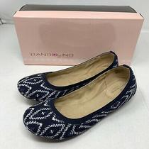 Bandolino Edition Ballet Flats Navy Off White 7m Ikat Print Preowned With Box Photo