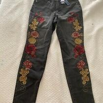 Bandolino Floral Embroidered Gray/black Jeans New With Tags Size 6  Photo