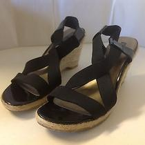 Bandolino Girlie Black New 9.5 Shoes Wedge Sandal Open Toe Heel Jute Espradrille Photo