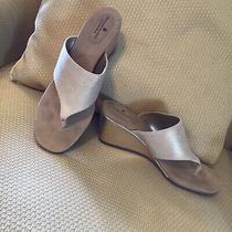 Bandolino Gold B.flexible Wedge Thong Shoessize 9 Photo