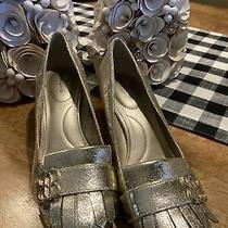 Bandolino Gold Loafer Sz 7.5 M Faux Leather Metallic Block Heel Pumps Shoes Photo