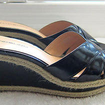 Bandolino Graphic Women's Black Synthetic Leather Wedge Espadrilles Sandals 8m Photo