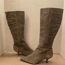 Bandolino Gray Grey Suede Leather Knee High Boots Size 9 Photo
