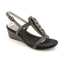 Bandolino Happy Me Womens Size 11 Black Faux Leather Wedge Sandals Shoes Used Photo