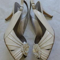 Bandolino Ivory Leather/mother of Pearl Slingback Sandals Shoes Size 8.5m Renay Photo
