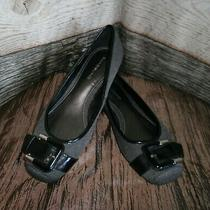 Bandolino Jollyjo Wedge Ballet Flats Black Grey Fabric Size 7.5 M Buckle Detail Photo