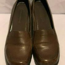 Bandolino Ladysmith Dark Brown Women Loafer Sz 10 Square Toe Wedge Heel Photo