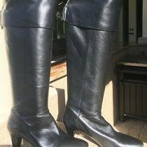 Bandolino Leather Tall Black Womens Size 8 Boots Side Zip 3 Heel Photo