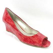 Bandolino New Great Gal Womens Size 7.5 Red Faux Croco Open Toe Wedge Shoes Photo