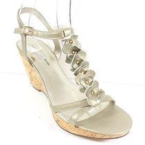 Bandolino New Ninette Womens Size 7.5 Gold Leather Cork Wedge Sandal Shoes Photo