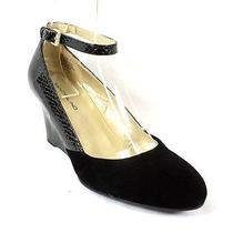 Bandolino New Topical Black Ankle Strap Wedge Pump Shoes Size 6.5 Photo