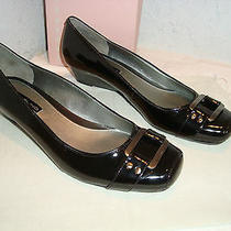 Bandolino New Womens Never End Black Patent Wedge Heels 5.5 M Shoes Photo