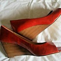 Bandolino Orange Leather Open Toe Wedge Heel Shoesize 8.5 Photo