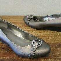 Bandolino Pewter Metallic Leather Unique Horse-Bit Wedge Pump Flats 9  Photo