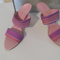 Bandolino Pink Stripe Heels Size 9 1/2 M Photo
