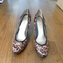 Bandolino Platform Pumps Heels Sz 7.5 Leopard Retro Boho Euc Black Brown Tan  Photo