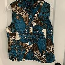 Bandolino Puffer Womens Quilted Blue Teal Brown White Vest Size Medium Photo