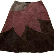 Bandolino Purple Brown Gray Floral Suede Leather Flare Midi Skirt Size 14 Petite Photo