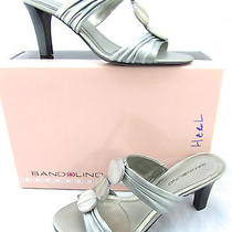 Bandolino Quizzes Pewter Silver Metallic Leather Mother of Pearl  Sandals 7.5 Photo