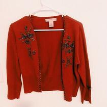 Bandolino Red Cardigan Bedazzled Holidays Size Small Chic Boho  Photo