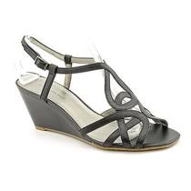Bandolino Rodger Womens Size 10 Black Leather Wedge Sandals Shoes New/display Photo