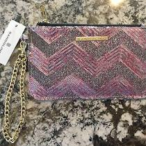Bandolino Sequin Glitter Clutch Wallet Handbag Pink Gold Chain Photo