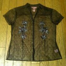 Bandolino Sheer See Through Brown Floral Embroidered Blouse Shirt Top Size 12  Photo