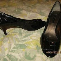 Bandolino Shelley Croc Navy Open Toe Pumps 9.5 Slightly Worn Photo