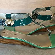 Bandolino Shoes Polidora Wedge T-Strap Sandals Back Zip Turquoise Green 7.5 M Photo