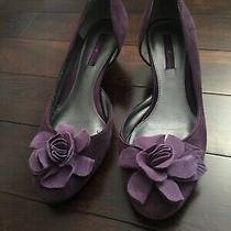 Bandolino Shoes Pump Size 8 M Purple Rounded Toe Slip on Wedge Heel Flower Detai Photo