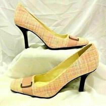 Bandolino Size 8.5m Flawless Pink Blue White Plaid Fabric Pumps Shoes Rockabilly Photo
